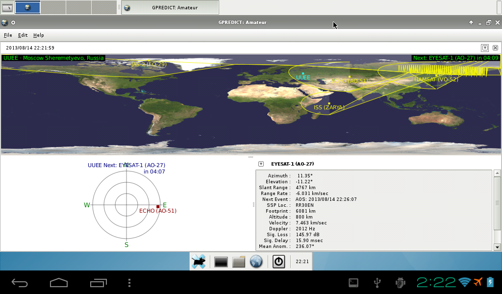 Gpredict running on your Android for the first time